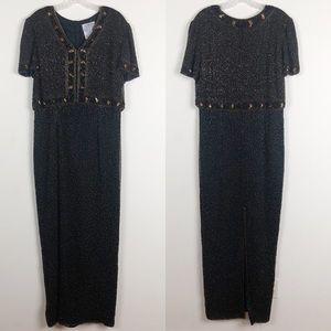 Vintage Papell Boutique Black Beaded Evening Gown